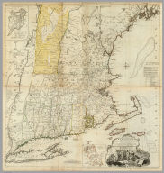 (Composite of) A Map of the most Inhabited part of New England, containing the Provinces of Massachusetts Bay and New Hampshire, with the Colonies of Conecticut And Rhode Island, Divided into Counties and Townships: The Whole composed from Actual Surveys and its Situation adjusted by Astronomical Observations. (with) A Plan of the Town of Boston. November 29th 1774. Published according to Act by Thos. Jefferys Geographer to His Royal highness the Prince of Wales near Charing Cross.