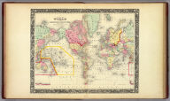 Map Of The World On The Mercator Projection Exhibiting the American Continent As It's Centre. 2. Entered ... 1860, by S. Augustus Mitchell, Jr. ... Pennsylvania.
