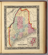 County Map Of The State Of Maine. 11. (with) inset map Portland Har. And Vicinity. 12. Entered ... 1860, by S. Augustus Mitchell, Jr. ... Pennsylvania.