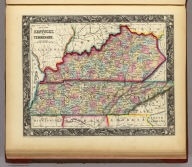County Map Of Kentucky, And Tennessee. 24. Entered ... 1860, by S. Augustus Mitchell, Jr. ... Pennsylvania.