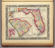 County Map Of Florida. 25. (with) County Map of South Carolina. 26. (with) Inset Map Of Charleston Harbor. 27. Entered ... 1860, by S. Augustus Mitchell, Jr. ... Pennsylvania.