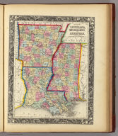 County Map Of Louisiana, Mississippi, And Arkansas. 28. Entered ... 1860, by S. Augustus Mitchell, Jr. ... Pennsylvania.