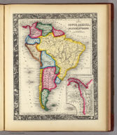Map Of South America, Showing Its Political Divisions. 45. Constructed & Engraved by W. Williams Philadelphia. (with) inset Map Showing The Proposed Atrato-Inter-Oceanic Canal Routes, for Connecting the Atlantic and Pacific Oceans. 46. Entered ... 1860, by S. Augustus Mitchell, Jr. ... Pennsylvania.