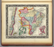 Map Of Brazil, Bolivia, Paraguay, And Uruguay. 50. (with) two inset maps: Harbor Of Rio Janeiro. 51. Harbor of Bahia. 52. (and) Map of Chili. 53. (with) inset map Island Of Juan Fernandez. 54. Entered ... 1860, by S. Augustus Mitchell, Jr. ... Pennsylvania.