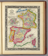Map Of France, Spain, And Portugal. 59. (with) two inset maps: Switzerland In Cantons. 60. Island Of Corsica. 61. Entered ... 1860, by S. Augustus Mitchell, Jr. ... Pennsylvania.