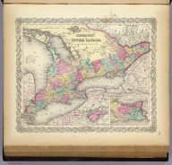Canada West Or Upper Canada. (with) two inset maps: Wolf Island At The Commencement Of The River St. Lawrence and Vicinity Of The Welland Canal & Niagara Falls. Published by J.H. Colton & Co. 172 William St. New York. Entered ... 1855 by J.H. Colton ... New York. No. 6.
