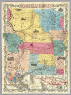 Nebraska And Kansas. Published By J.H. Colton & Co. No. 172 William St. New York. Entered ... 1854 by J.H. Colton ... New York. (inset) Map Of The Territory acquired from Mexico by the Gadsden Treaty, 1854. (untitled inset of U.S., Mexico, Central America). Printed by D. Mc Lellan, 26 Spruce St. N.Y.