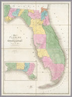 Map of Florida Exhibiting the Post Offices, Post Roads, Canals, Rail Roads, &c. By David H. Burr. (Late Topographer to the Post Office.) Geographer to the House of Representatives of the U.S. John Arrowsmith. (with) inset map of Florida panhandle. Entered ... July 10th, 1839, by David H. Burr ... District of Columbia.