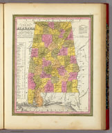A New Map Of Alabama With Its Roads & Distances from place to place, along the Stage & Steam Boat Routes. Published By S. Augustus Mitchell, N.E. corner of Market & 7th Street Philada., 1846. Entered ... 1846 by H.N. Burroughs ... Pennsylvania.