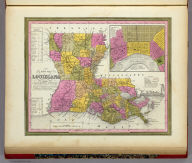 A New Map Of Louisiana With Its Canals, Roads & Distances from place to place, along the Stage & Steam Boat Routes. (with) New Orleans. Published By S. Augustus Mitchell, N.E. corner of Market & 7th Street Philada., 1846. Entered ... 1846 by H.N. Burroughs ... Pennsylvania.