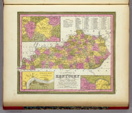 A New Map Of Kentucky With its Roads And Distances from place to place along the Stage & Steam Boat Routes. (with) three inset maps: environs of Lexington, Falls of Ohio, and environs of Williamsburg. Published By S. Augustus Mitchell, N.E. corner of Market & 7th Street Philada., 1846. Entered ... 1846 by H.N. Burroughs ... Pennsylvania.