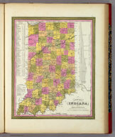 A New Map Of Indiana With Its Canals Roads And Distances. Published By S. Augustus Mitchell, N.E. corner of Market & 7th Street Philada., 1846. Entered ... 1846 by H.N. Burroughs ... Pennsylvania.