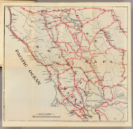 Untitled map of Sonoma, Marin, Lake, and Napa Counties.