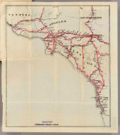 (Untitled map of Southern California including Ventura, Los Angeles, San Bernardino, Orange, and San Diego Counties.)