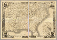 Map Of The Southern States, Including Rail Roads, County Towns, State Capitals, County Roads, The Southern Coast ... To Texas, Showing The Harbors, Inlets, Forts And Position Of Blockading Ships. Prepared For Harper's Weekly November 1861. (untitled inset map of Washington D.C. and vicinity).