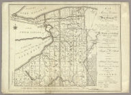 Map of Morris's Purchase or West Geneseo In the State of New York. Exhibiting Part of the Lakes Erie and Ontario, the Straights of Niagara, Chautauque Lake and all the principal Waters, the Boundary lines of the several Tracts of Land purchase by the Holland Land Company, William and John Willink and others ... by Joseph & B. Ellicott 1800. To The Holland Land company their General Agents Theophilus Cazenove & Paul Bush Esquires, This Map Is respectfully inscribed by the Authors. 1804.