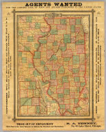 Illinois. Agents Wanted For The largest Line Of Maps And Atlases Published In The United States. Canvassers Who Have Never Sold my Goods Will Find it is to Their Interest to See my Descriptive Circulars and Price List. New Works Are Being Issued Constantly ... Those Out of Employment Will Find it for their Interest to Address for Circulars and Particulars. R.A. Tenney, No. 88 Lake Street, Chicago. (untitled inset map of Chicago and adjacent counties).