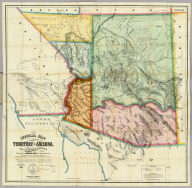 Official Map Of The Territory Of Arizona, With All The Recent Explorations. Compiled by Richard Gird C.E. Commissioner. Approved By John N. Goodwin, Governor. In Accordance With An Act Of The Legislature, Approved Oct. 23d. 1864. We hereby certify that this is the Official Map of the Territory of Arizona, and approve the same. Prescott October 12th 1865. (with signed seal dated 1863). Published By A. Gensoul, Pacific Map Depot. No. 511 Montgomery St. San Francisco. Lith. Britton & Co. San Francisco.