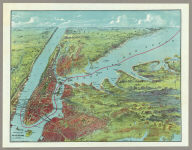 Birds Eye View Map Of New York And Vicinity.