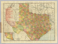 Rand, McNally & Co.'s Texas. Rand, McNally & Co.'s New Business Atlas Map of Texas. Rand, McNally & Co., Map Publishers and Engravers, Chicago, 1902. Copyright 1902, ... 1898, ... 1895 ... (inset) Southern Portion Of Texas On Same Scale.