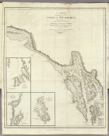 A Chart Shewing part of the Coast of N.W. America, With the Tracks of His Majesty's Sloop Discovery and Armed Tender Chatham, Commanded by George Vancouver Esqr. and prepared under his immediate inspection by Lieut. Joseph Baker, in which the Continental Shore has been traced and determined from Latde. 57¼07'1/2N. and Longd. 227¼00'E. to Latd. 59¼39'N and Longd. 219¼00'E. at the periods shewn by the Track. No. 12. (with) three inset maps. Engraved by T. Foot, Weston Place, St. Pancras. London: Published May 1st 1798, by J. Edwards Pall Mall & G. Robinson Paternoster Row.