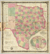 J. De Cordova's Map Of The State Of Texas Compiled from the records of the General Land Office of the State by Robert Creuzbaur, Austin, 1867 New Edition, revised and corrected to date. Entered ... on the 28th day of July 1848 by J. De Cordova ... Texas. (inset) Plan Showing Lines Of Communication Between Western Texas And The Pacific Coast.