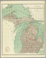 Department Of The Interior General Land Office J.A. Williamson, Commissioner. State of Michigan. 1878. Compiled from the official Records of the General Land Office and other sources by C. Roeser, Principal Draughtsman G.L.O. Photo lith & print by Julius Bien 16 & 18 Park Place N.Y.