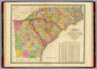 Map Of North and South Carolina And Georgia, Constructed from the Latest Authorities. 1825. Copyright secured. J.H. Young Sculp. Published by A. Finley Philada. 1824.