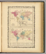 Map of The World Showing the Geographical Distribution & Range of The Principal Members of The Animal Kingdom (with) Bird Map (with) Map of The World Illustrating the Productive Industry Of Various Countries, & exhibiting the principal features of Commerce And Navigation. By Johnson & Browning. Nos. 8-9.