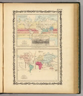 Map of The World Illustrating The Principal Features Of Meteorology. (with) Rain Map (with) Map of The World Showing the Distribution And Limits of Cultivation of The Principal Plants Useful To Mankind. Published By Johnson & Browning, 172 William St. New York. Nos. 8-9.