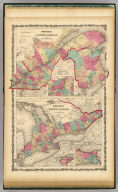 Johnson's Lower Canada And New Brunswick. (with) inset Vicinity of Montreal (with) Johnson's Upper Canada (with) inset maps of Wolf Island At The Commencement Of The River St. Lawrence and Vicinity Of The Welland Canal & Niagara Falls. By Johnson & Browning.