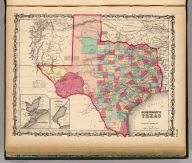 Johnson's Texas By Johnson & Browning. (with) inset maps: Plan Of Galveston Bay From The U.S. Coast Survey and Plan of Sabine Lake. No. 33.
