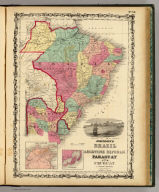Johnson's Brazil, Argentine Republic, Paraguay And Uruguay. By Johnson & Browning. (with) two inset maps: Rio De Janeiro and Pernambuco. No. 55.