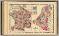 Johnson's France By Johnson & Browning. (with) inset map of Corsica (with) Johnson's Holland and Belgium (with) two inset maps: Amsterdam and Brussels. No. 64-65.