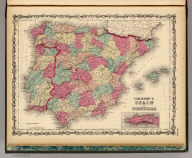 Johnson's Spain And Portugal by Johnson & Browning. (with) inset map of Gibraltar. No. 66.