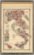 Johnson's Northern Italy By Johnson & Browning. Lombardy & Venice, Sardinia, Tuscany, Parma, Modena, Lucca, And The States Of The Church. (with) Johnson's Southern Italy Kingdom Of Naples, I. Sardinia & Malta. (with) inset map of Malta and its Dependencies. No. 70-71.