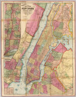 Watson's New Map Of New-York And Adjacent Cities. Published By Gaylord Watson, 16 Beekman St. 1874. Entered ... 1869, by Gaylord Watson ... New York. (inset) Map showing the Hudson River And Adjoining Country.