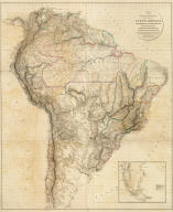 Outlines Of The Physical And Political Divisions Of South America: Delineated By A. Arrowsmith Partly From Scarce And Original Documents, Published Before The Year 1806 But Principally From Manuscript Maps & Surveys Made Between The Years 1771 And 1806, Corrected From Accurate Astronomical Observations To 1810. London, Published 4th January 1811 by A. Arrowsmith No. 10 Soho Square, Hydrographer to H.R.H. the Prince of Wales. Additions to 1814. Engraved by Edwd. Jones ... (inset map of the southern tip of South America).
