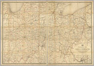 """Post route map of the states of Ohio and Indiana with adjacent parts of Pennsylvania, Michigan, Illinois, Kentucky, and West Virginia showing post offices, with the intermediate distances between them and mail routes in operation on 1st February 1884. Published by order of Postmaster General Walter Q. Gresham under the direction of C. Roeser Jr., Topographer P.O. Dept. 1884. The first edition was issued in 1870 ... (seal) Post Office Department United States Of America. """"With Celerity, Certainty And Security."""" (with) City of Cincinnati and environs."""