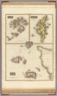 Remote British Isles: Jersey and Guernsey. (with 2 inset maps) Scilly Isles (and) Shetland Islands. Drawn under the direction of Mr. Pinkerton by L. Hebert. Neele sculpt. 352 Strand. London: published June 1st. 1814 by Cadell & Davies, Strand & Longman, Hurst, Rees, Orme, & Brown, Paternoster Row.