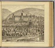 """""""Ellanova Springs"""" 10 miles from Pittsburgh ot P. Ft. W. & C. Ry., R.E. Robinson, proprietor. (... compiled & drawn for the publishers by E.L. Hayes, assisted by E.F. Hayes, C.M. Beresford, assisted by S.A. Charpiot, F.L. Sanford, J.H. Sherman. Published by Titus, Simmons & Titus ... Phila. 1877. Eng. by Worley & Bracher ... Printed by H.J. Toudy & Co. ... Oldach & Mergenthaler Binders ...)"""