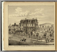 Residence of A.M. Brown Esq. cor. of Liberty Ave. & Conrad St., Pittsburgh, Pa. (... compiled & drawn for the publishers by E.L. Hayes, assisted by E.F. Hayes, C.M. Beresford, assisted by S.A. Charpiot, F.L. Sanford, J.H. Sherman. Published by Titus, Simmons & Titus ... Phila. 1877. Eng. by Worley & Bracher ... Printed by H.J. Toudy & Co. ... Oldach & Mergenthaler Binders ...)