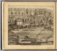 John A. Wood & Son, coal harbor & tow boats, below mouth of Saw Mill Run ... (with) Residence of Capt. John A. Wood, Mount Pleasant, Chartiers Township ... (both) Allegheny County, Pa. (... compiled & drawn for the publishers by E.L. Hayes, assisted by E.F. Hayes, C.M. Beresford, assisted by S.A. Charpiot, F.L. Sanford, J.H. Sherman. Published by Titus, Simmons & Titus ... Phila. 1877 ... Printed by H.J. Toudy & Co. ... Oldach & Mergenthaler Binders ...)