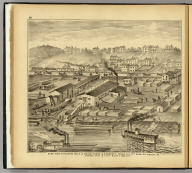 Soho Saw & Planing Mills & Barge Yards, G.O. Fawcett, Second Ave. 14th Ward, Pittsburgh, Pa. (... compiled & drawn for the publishers by E.L. Hayes, assisted by E.F. Hayes, C.M. Beresford, assisted by S.A. Charpiot, F.L. Sanford, J.H. Sherman. Published by Titus, Simmons & Titus ... Phila. 1877 ... Printed by H.J. Toudy & Co. ... Oldach & Mergenthaler Binders ...)