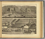 Clinton Fire Brick Works ... Anderson's Landing, P.O., Freeman's Landing, Hancock Co., West Virginia ... (with) Residence of Thos Anderson, Residence of T.F. Anderson. (... compiled & drawn for the publishers by E.L. Hayes, assisted by E.F. Hayes, C.M. Beresford, assisted by S.A. Charpiot, F.L. Sanford, J.H. Sherman. Published by Titus, Simmons & Titus ... Phila. 1877 ... Printed by H.J. Toudy & Co. ... Oldach & Mergenthaler Binders ...)