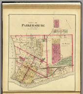 City of Parkersburg, Wood Co., W. Va. (... compiled & drawn for the publishers by E.L. Hayes, assisted by E.F. Hayes, C.M. Beresford, assisted by S.A. Charpiot, F.L. Sanford, J.H. Sherman. Published by Titus, Simmons & Titus ... Phila. 1877. Eng. by Worley & Bracher ... Printed by H.J. Toudy & Co. ... Oldach & Mergenthaler Binders ...)