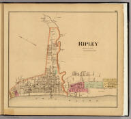 Ripley, Brown Co., Ohio. (... compiled & drawn for the publishers by E.L. Hayes, assisted by E.F. Hayes, C.M. Beresford, assisted by S.A. Charpiot, F.L. Sanford, J.H. Sherman. Published by Titus, Simmons & Titus ... Phila. 1877. Eng. by Worley & Bracher ... Printed by H.J. Toudy & Co. ... Oldach & Mergenthaler Binders ...)