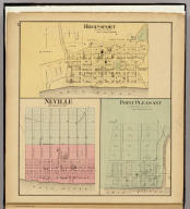 Higginsport, Brown Co., Ohio. (with) Neville ... (with) Point Pleasant ... (both) Clermont Co., Ohio. (... compiled & drawn for the publishers by E.L. Hayes, assisted by E.F. Hayes, C.M. Beresford, assisted by S.A. Charpiot, F.L. Sanford, J.H. Sherman. Published by Titus, Simmons & Titus ... Phila. 1877. Eng. by Worley & Bracher ... Printed by H.J. Toudy & Co. ... Oldach & Mergenthaler Binders ...)