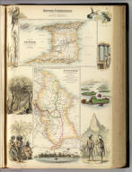 British Possessions on the North East Coast of South America. XL. (with) two maps: Island of Trinidad from Government and other Surveys. Drawn & Engd. by J. Bartholomew. Edinr. (and) British Guyana according to Sir Robert Schomburgk drawn by Augustus Petermann F.R.G.S. Engraved by G.H. Swanston. A. Fullarton & Co. London, Edinburgh & Dublin.