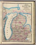 Cram's Rail Road & Township Map of Michigan. Published by Geo. F. Cram. Proprietor of the Western Map Depot. 66, Lake St. Chicago Ills. 1875.